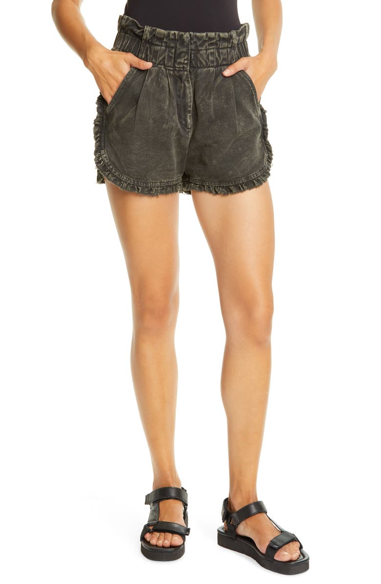 SEA Idun Paperbag Waist Ruffle Denim Shorts, Main, color, GRAPHITE