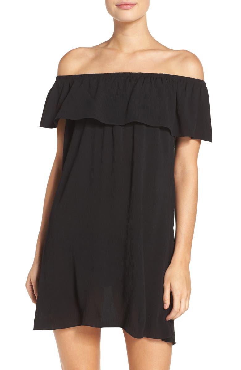 BECCA Southern Belle Off the Shoulder Cover-Up Dress, Main, color, 002