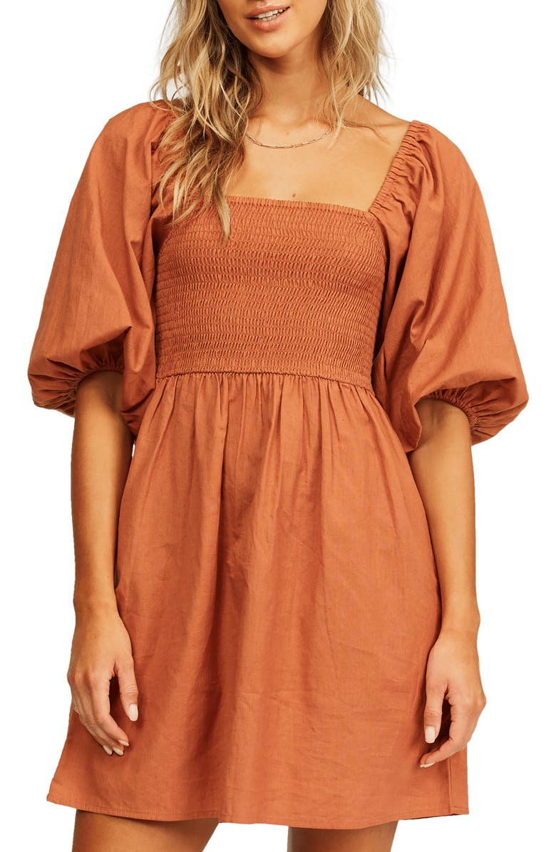 BILLABONG Paradise Days Puff Sleeve Minidress, Main, color, BRONZE