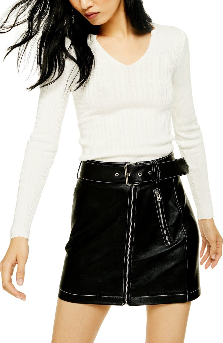 TOPSHOP Split Neck Ribbed Sweater, Main, color, IVORY