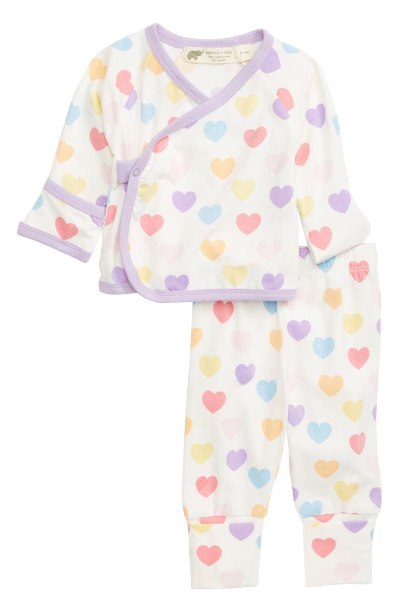 MONICA + ANDY Hello Baby Stretch Organic Cotton Wrap Top & Pants Set, Main, color, FULL OF HEART