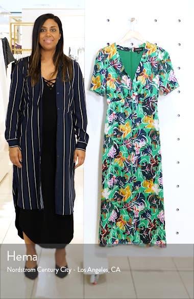 Eden Floral Print Silk Midi Dress, sales video thumbnail