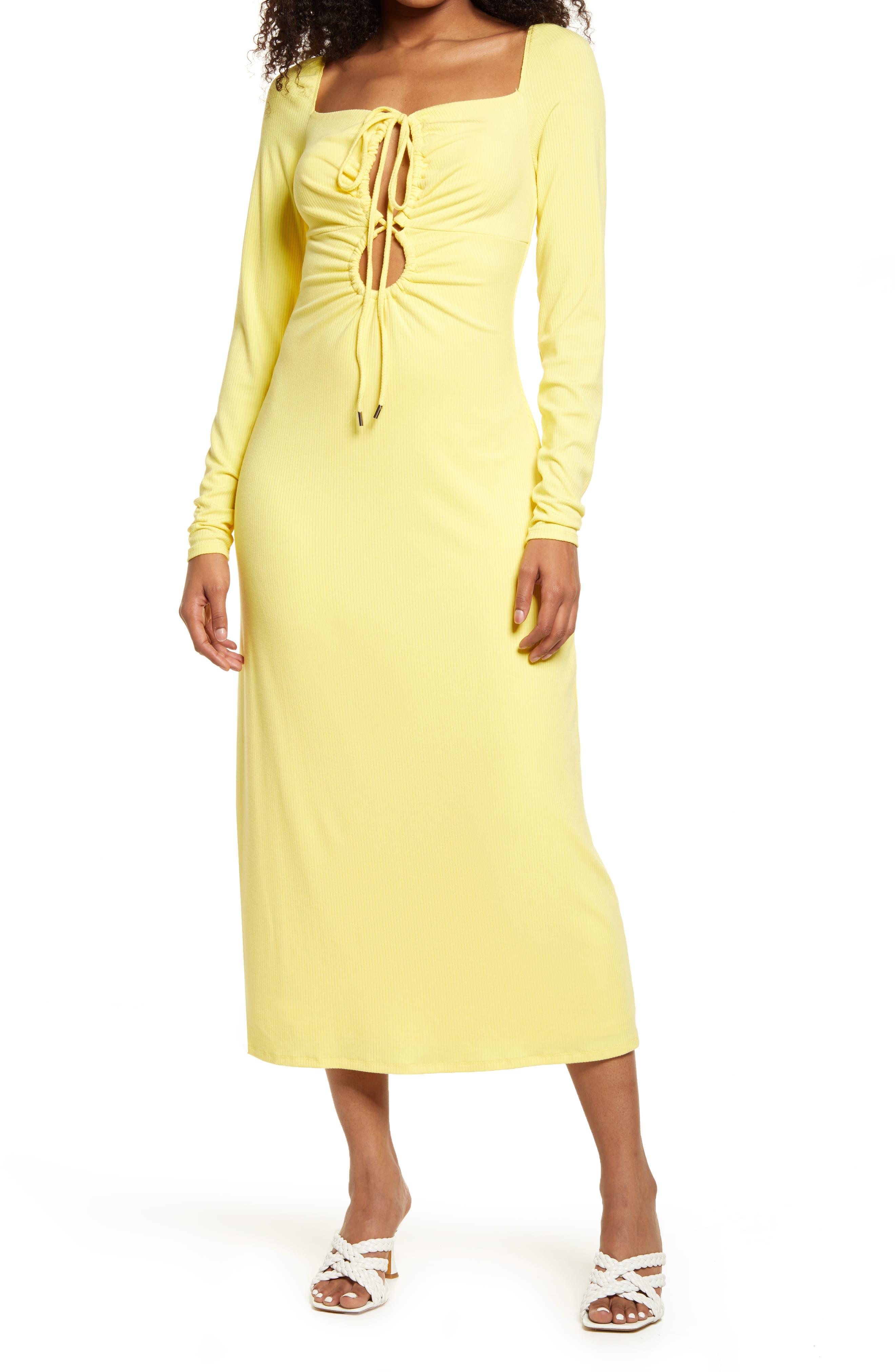 Jordana Cutout Long Sleeve Rib Midi Dress