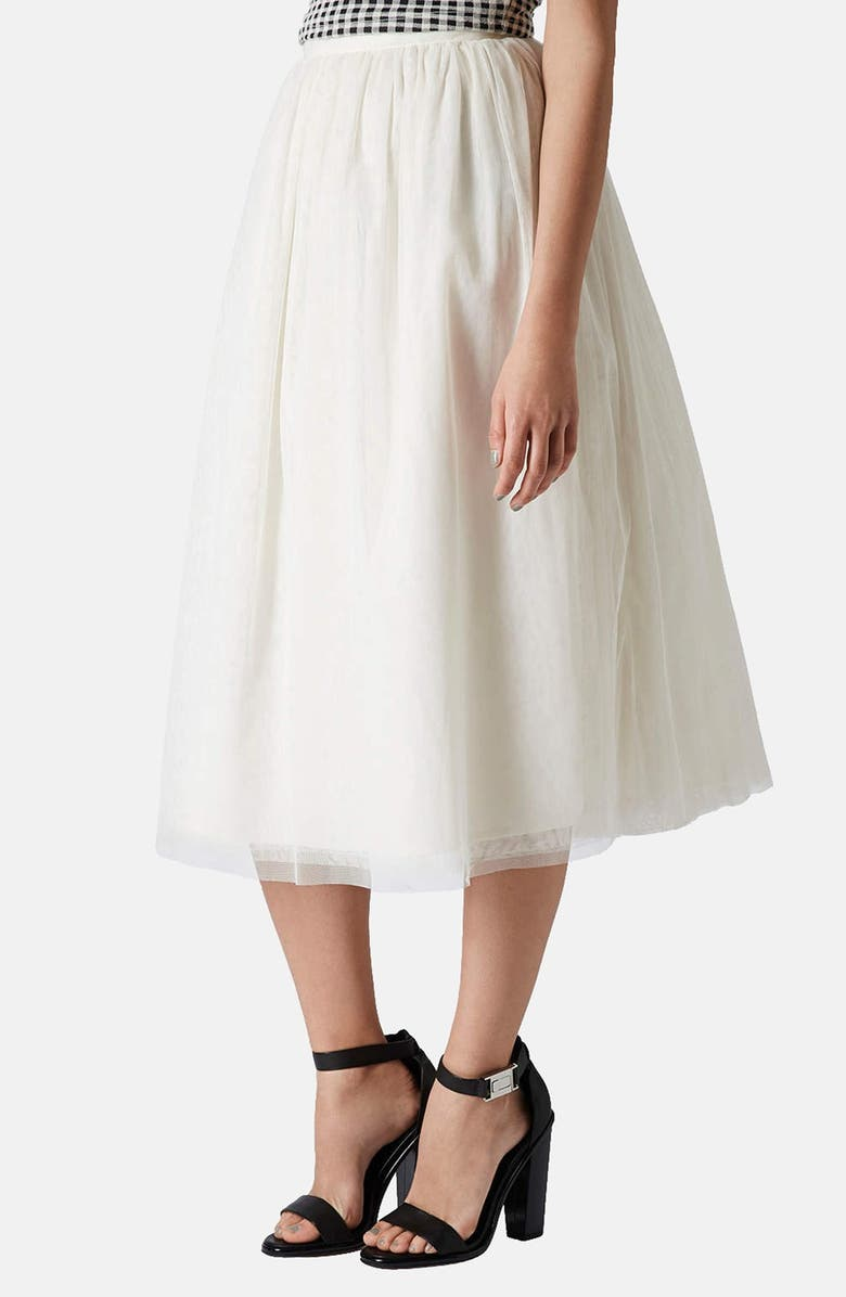 TOPSHOP 'Ballerina Prom' Tulle Midi Skirt, Main, color, 900