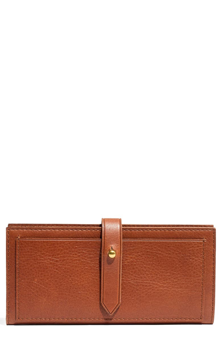 MADEWELL New Post Leather Wallet, Main, color, ENGLISH SADDLE