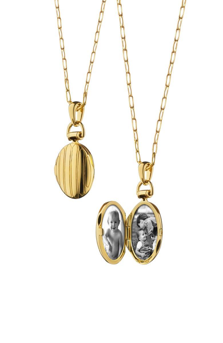 MONICA RICH KOSANN Pinstripe Petite Locket Necklace, Main, color, 18K YELLOW GOLD