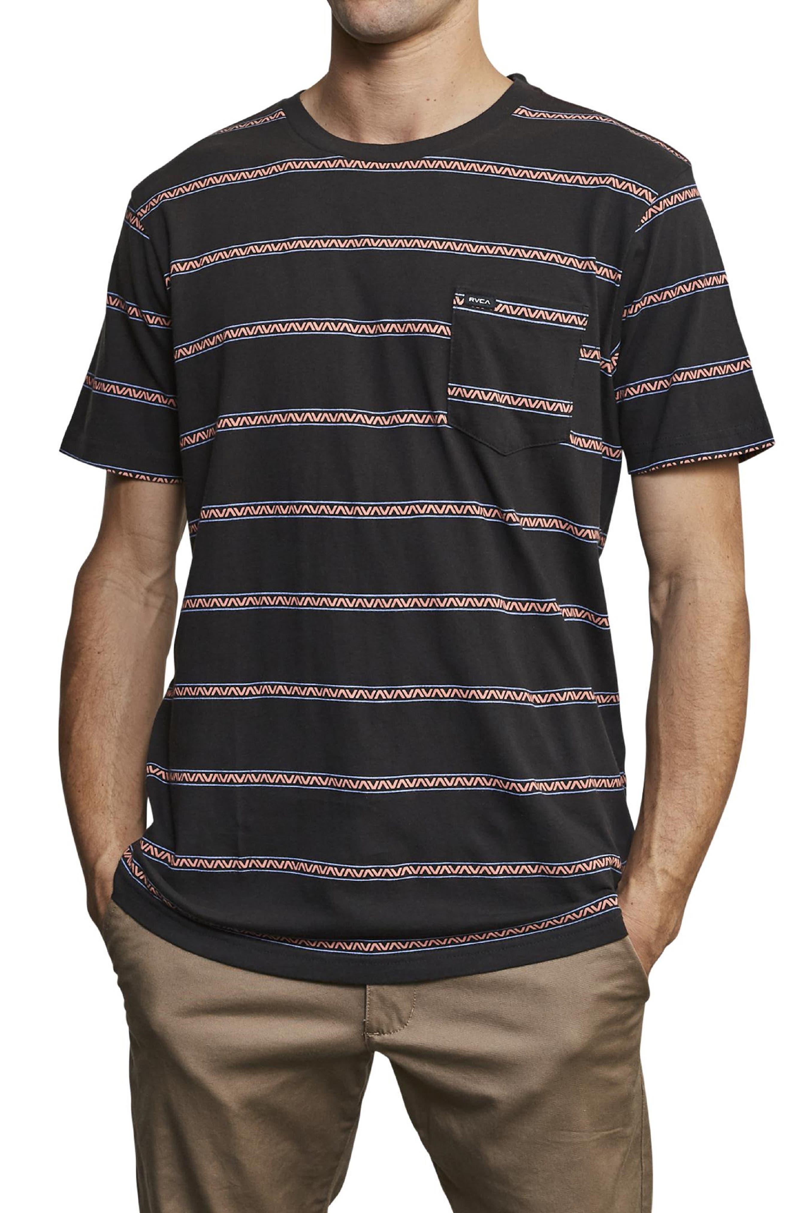 ,                             Retro VA Stripe Pocket T-Shirt,                             Main thumbnail 1, color,                             PIRATE BLACK