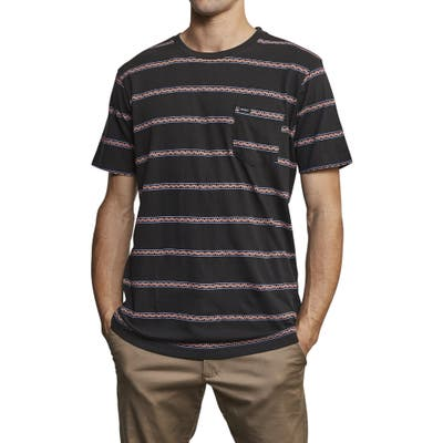 Rvca Retro Va Stripe Pocket T-Shirt, Black