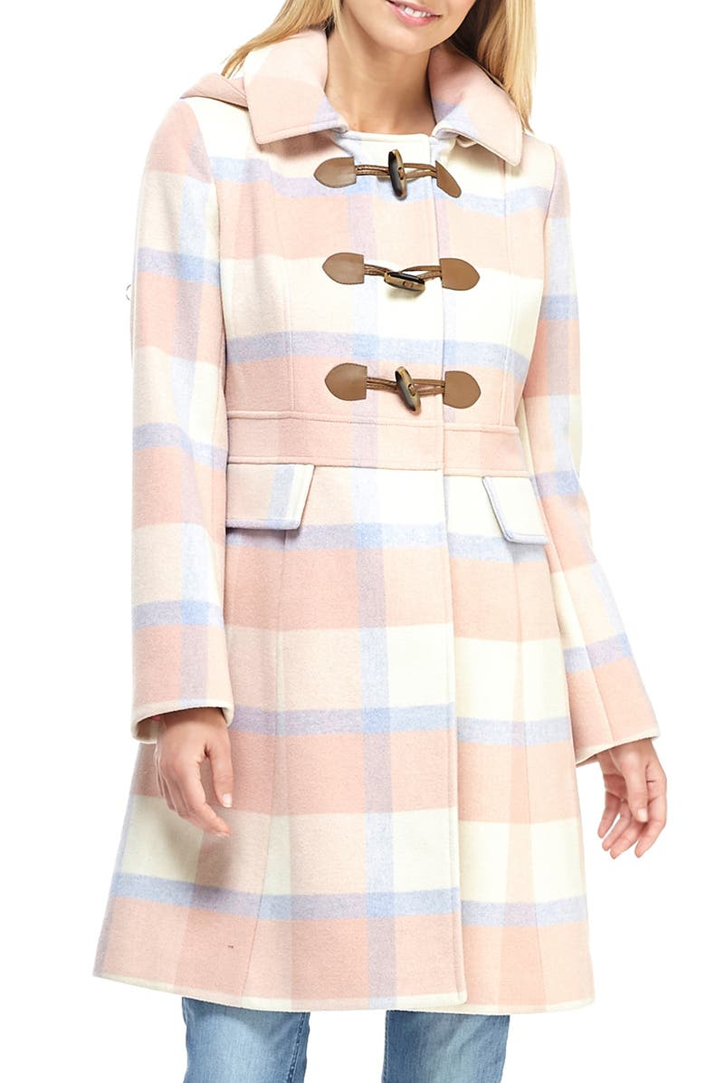 GAL MEETS GLAM COLLECTION Annelise Plaid Hooded Coat, Main, color, 250