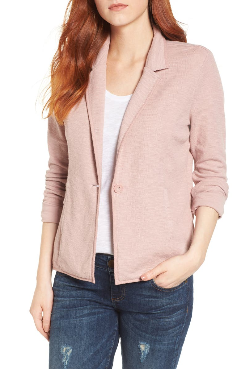 CASLON<SUP>®</SUP> One-Button Knit Blazer, Main, color, PINK ADOBE
