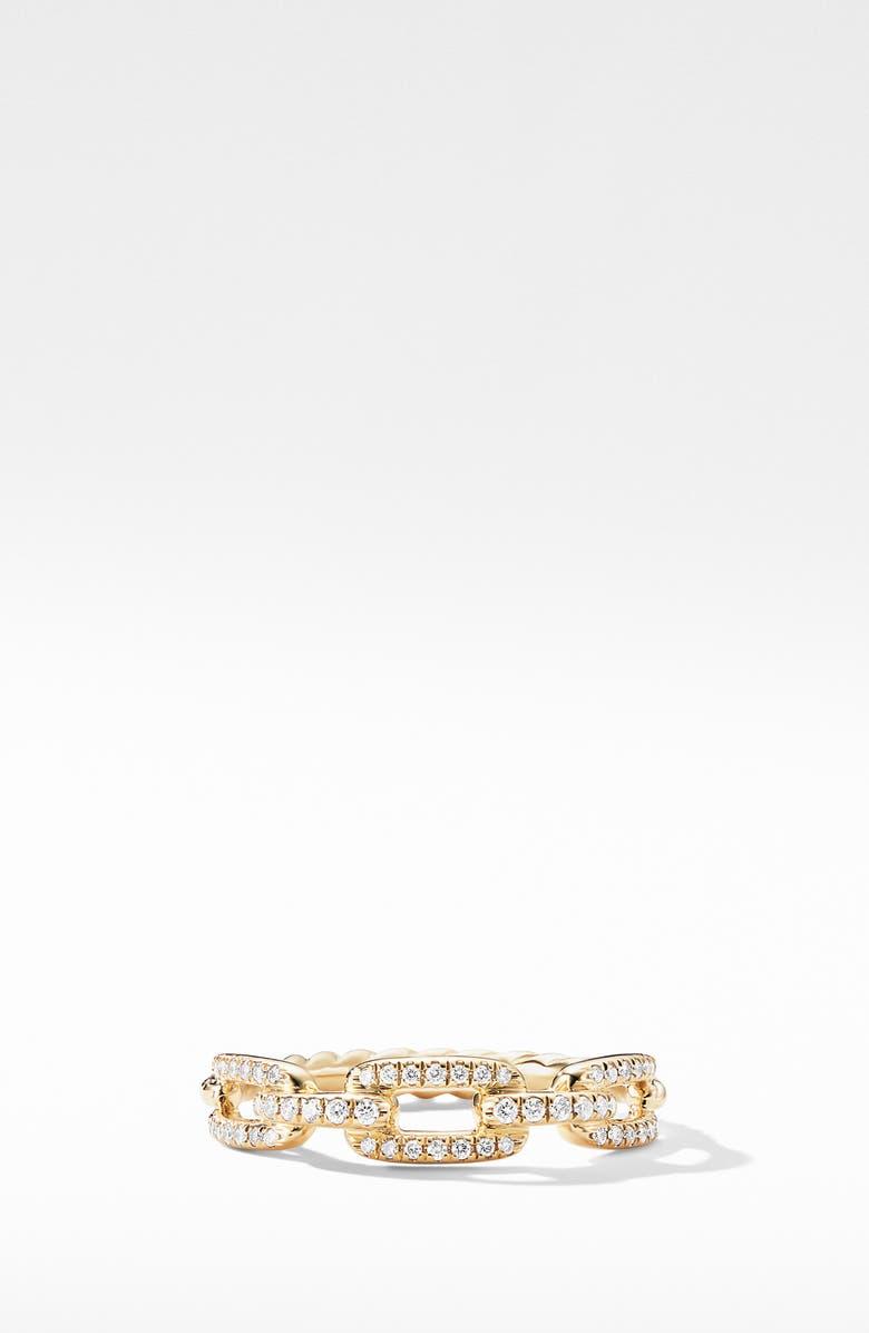 DAVID YURMAN Stax 18K Gold Single Row Pavé Chain Link Ring with Diamonds, Main, color, YELLOW GOLD/ DIAMOND
