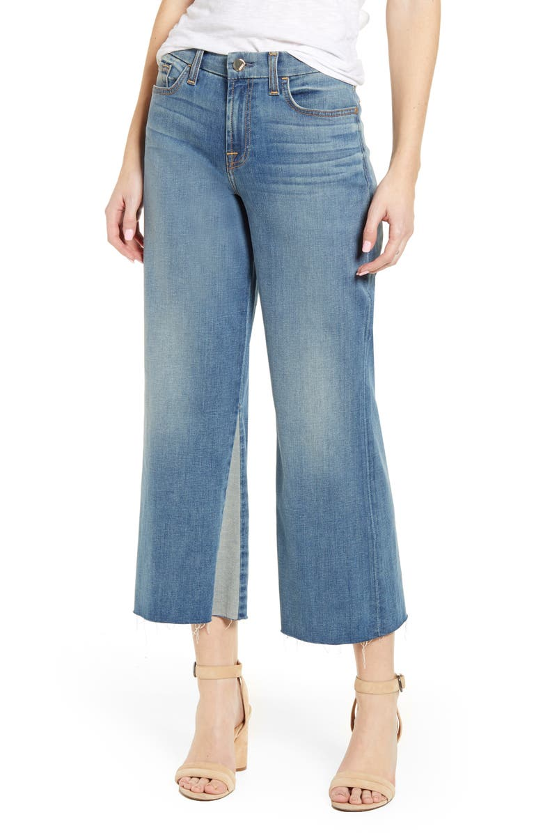 JEN7 BY 7 FOR ALL MANKIND High Waist Contrast Panel Crop Wide Leg Jeans, Main, color, CANYON COAST