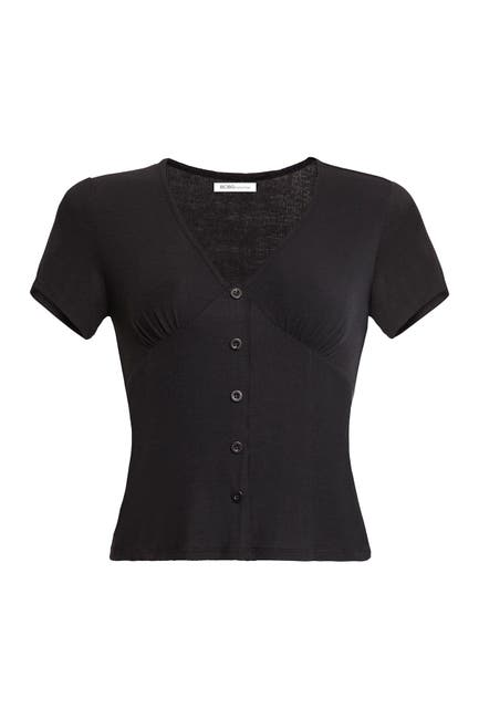 Image of BCBGeneration Button Front Ribbed Knit Top