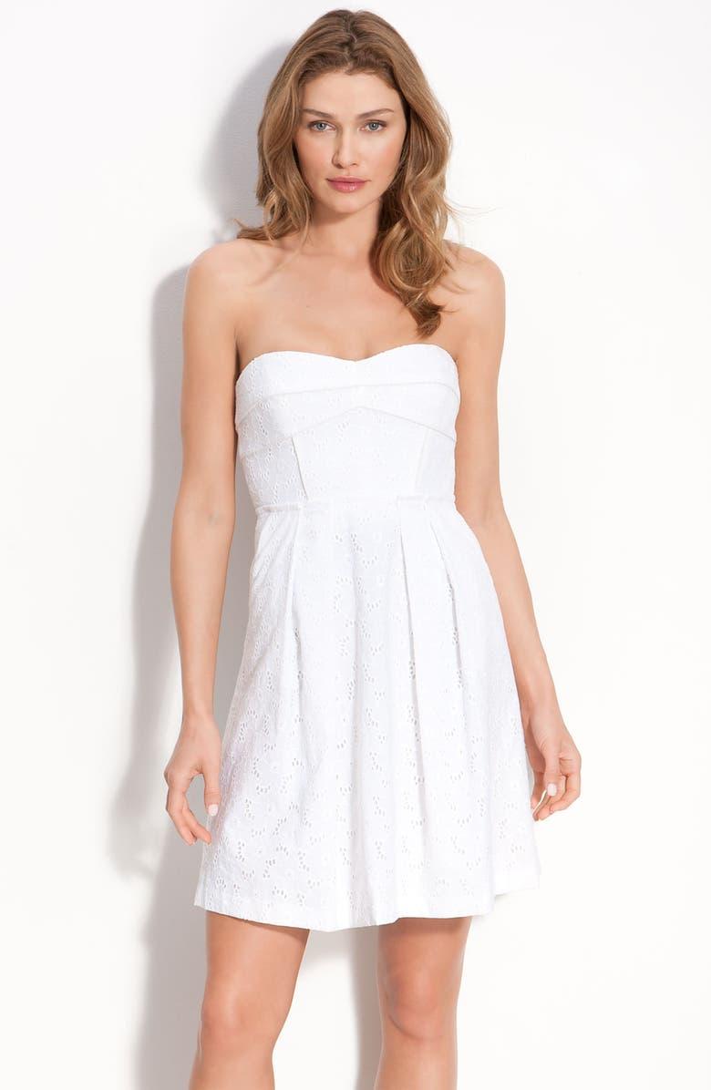 SEAMLINE CYNTHIA STEFFE 'Anne' Strapless Eyelet Dress, Main, color, 145