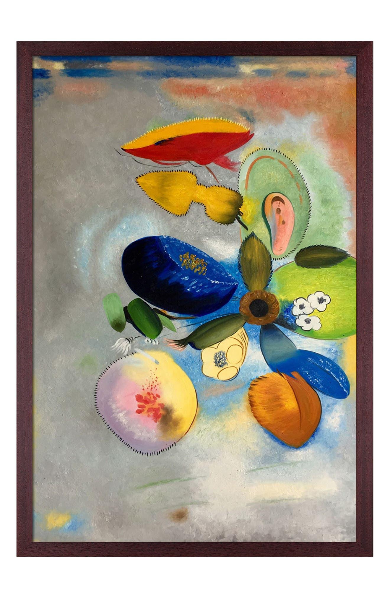Overstock Art Flowers 1914-1916 With Open Grain Mahogany In Multi