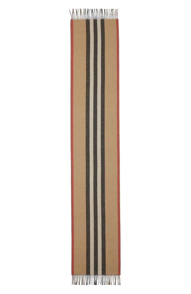 BURBERRY Icon Stripe Reversible Cashmere Scarf, Main, color, ARCHIVE BEIGE