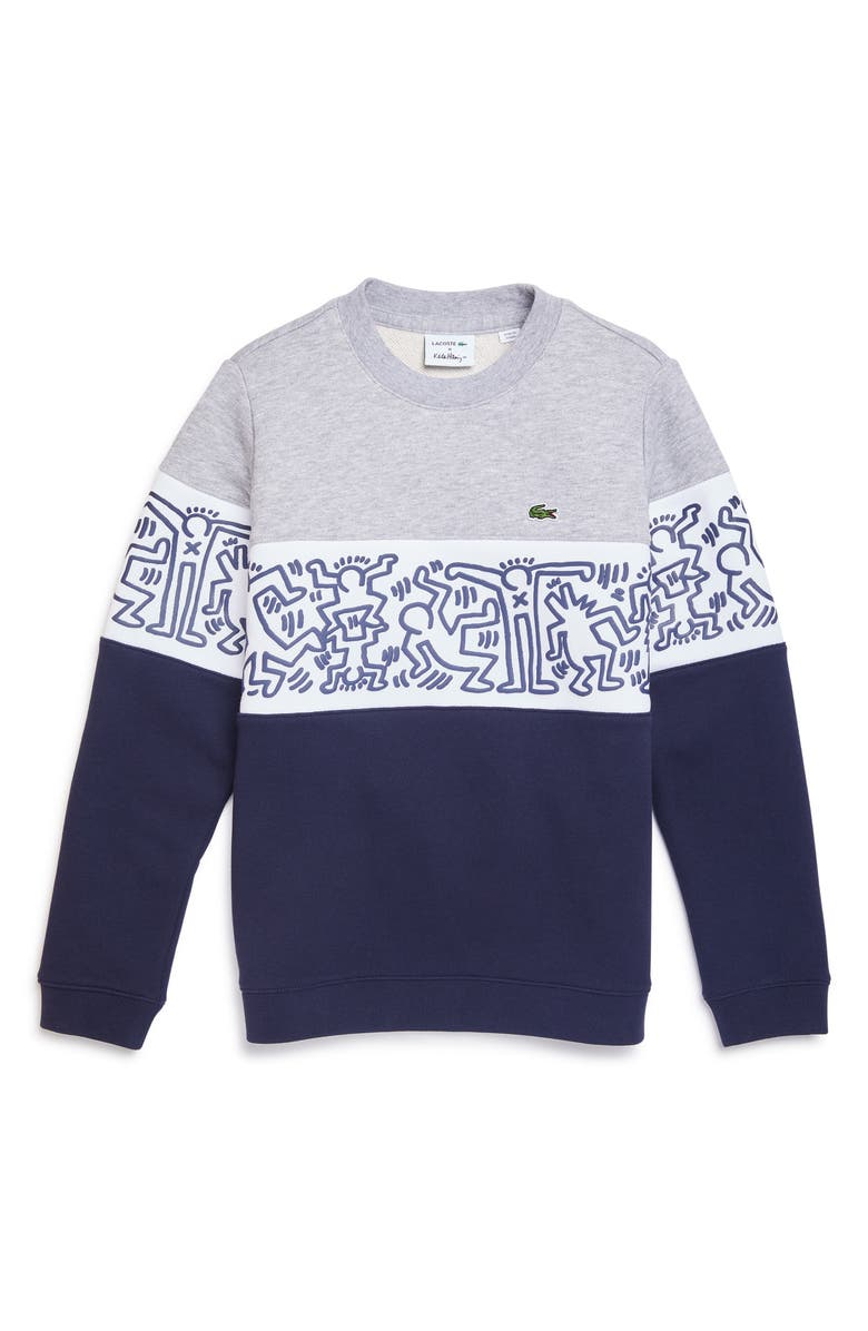 74ae51275858 x Keith Haring Colorblock Sweatshirt, Main, color, NAVY BLUE/ WHITE/ SILVER