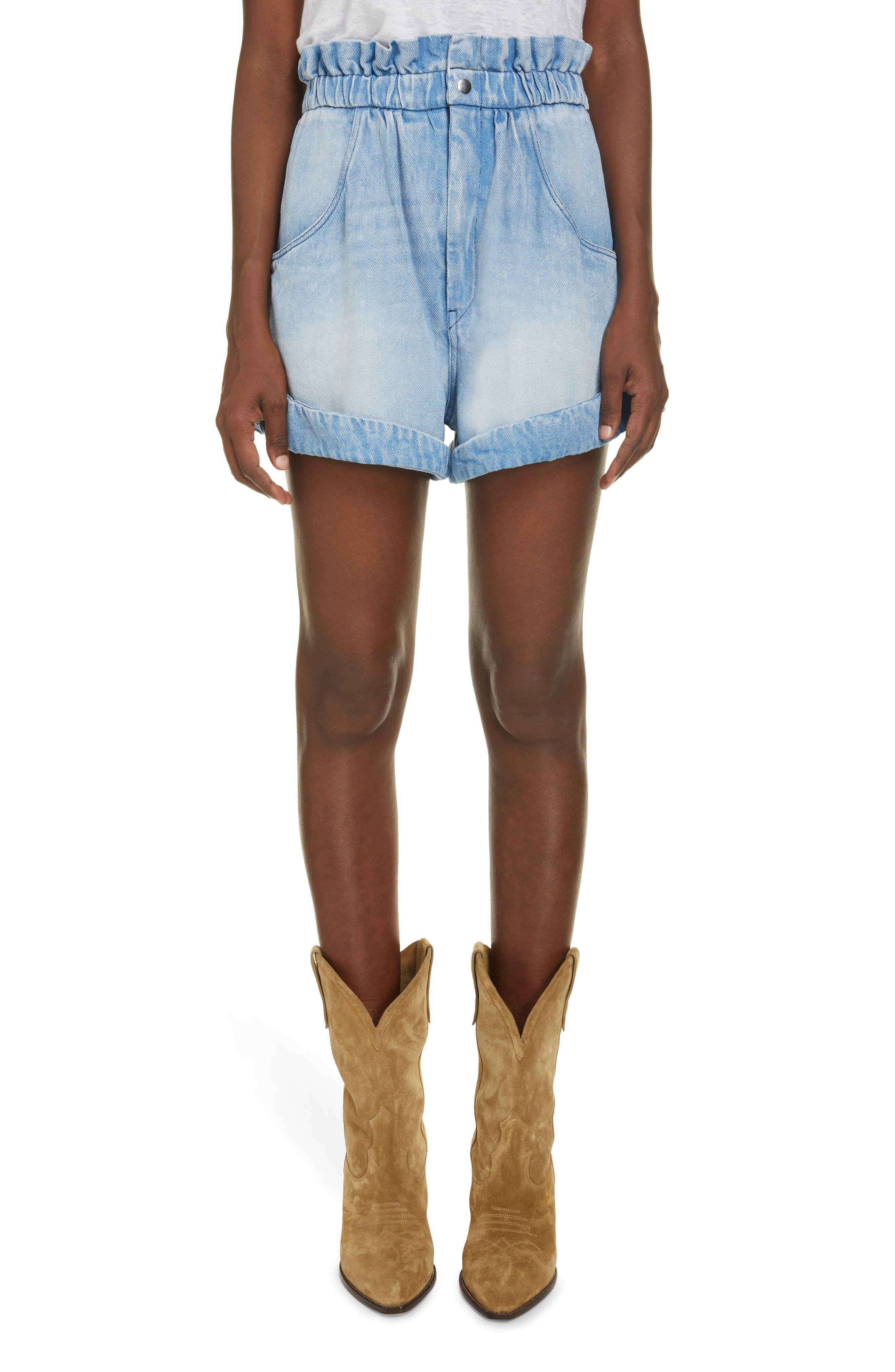 Women's Isabel Marant Etoile Itea Faded Wash Denim Paperbag Waist Shorts