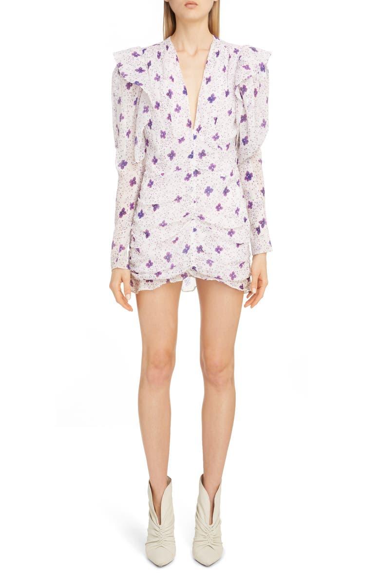 ISABEL MARANT Floral Ruffle Trim Long Sleeve Minidress, Main, color, WHITE