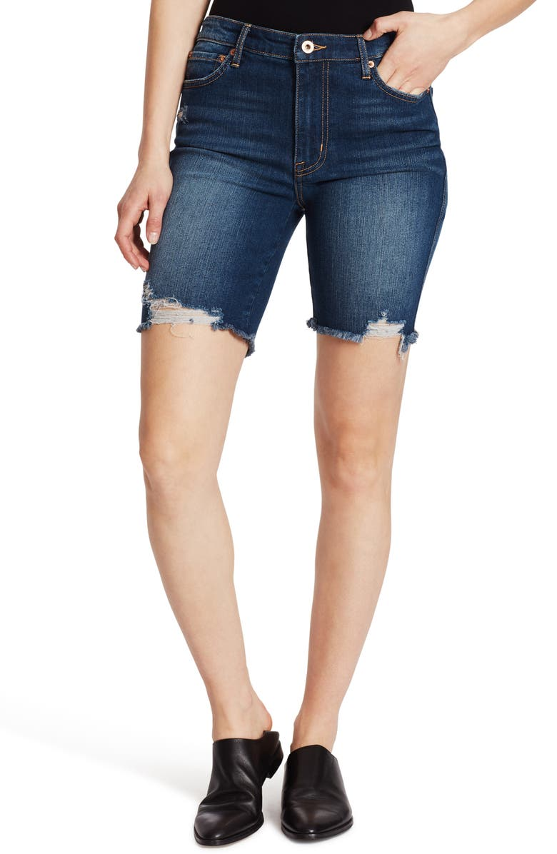 Ella Moss High Waist Distressed Denim Bermuda Shorts Sage Cordia