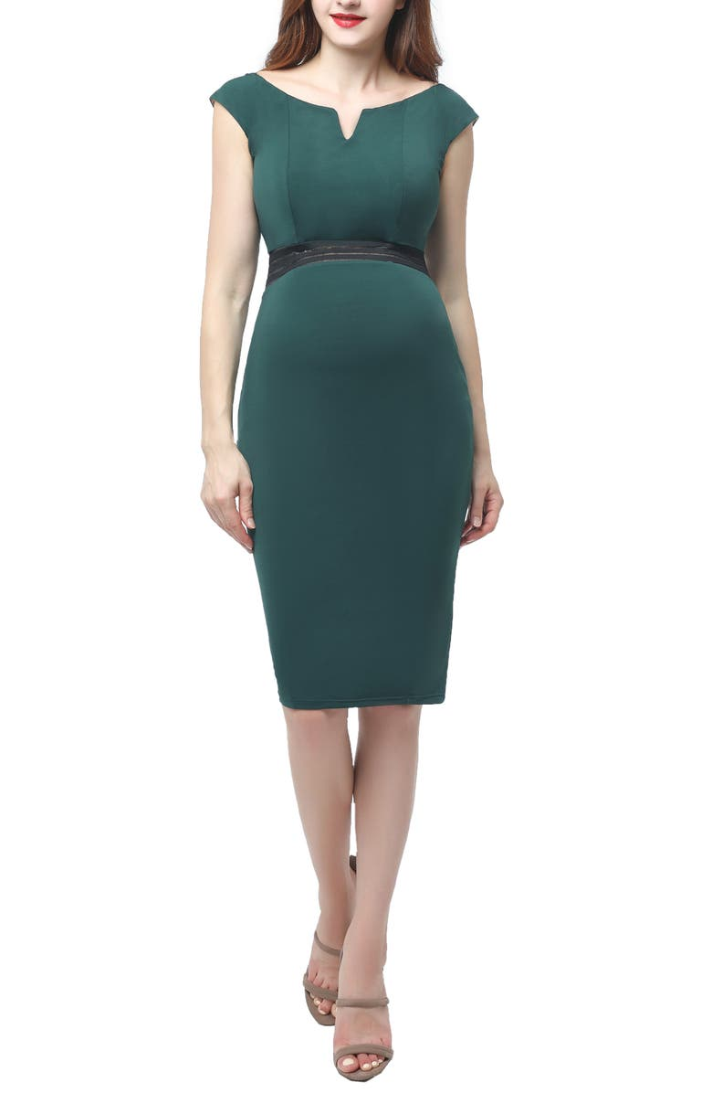 KIMI AND KAI Lonnie Maternity Body-Con Dress, Main, color, FOREST GREEN