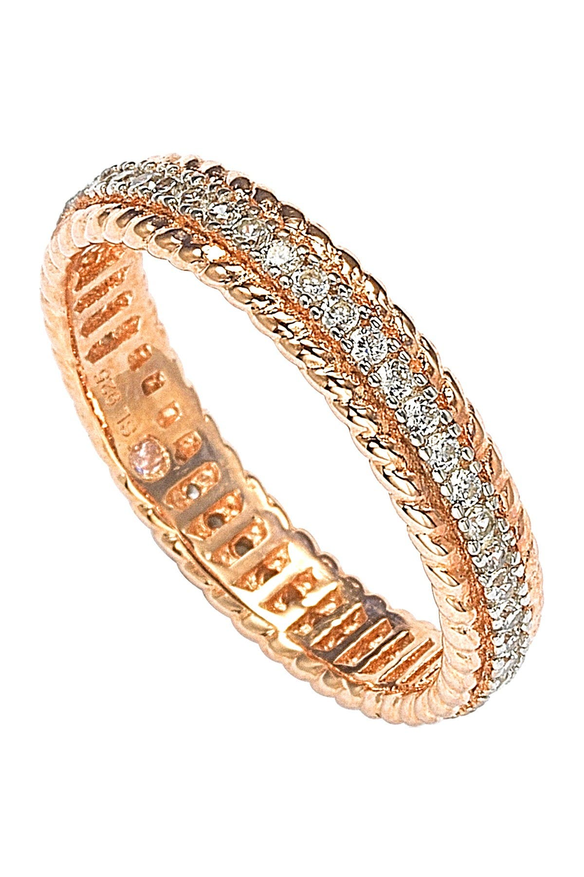 Image of Suzy Levian Rose-Tone Sterling Silver CZ French Filigree Eternity Band