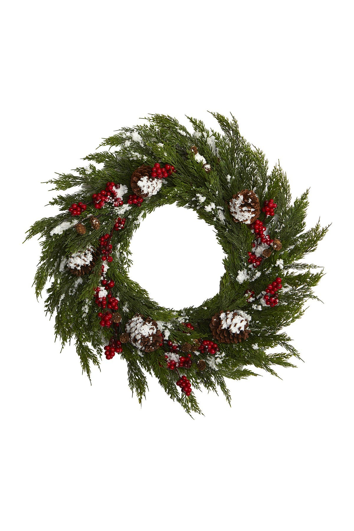 """Image of NEARLY NATURAL 28"""" Frosted Cypress, Berries, & Pinecones Artificial Wreath"""