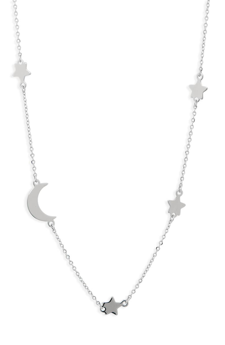 CHARM IT!<SUP>®</SUP> Moon & Star Sterling Silver Necklace, Main, color, SILVER