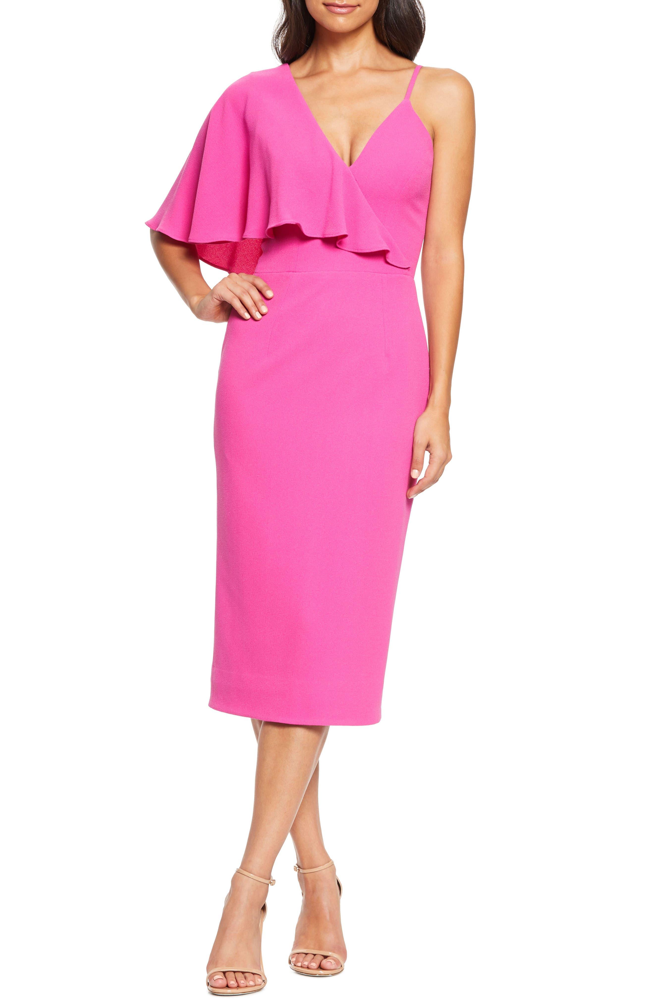 Dress The Population Beth Asymmetrical Ruffle Sleeve Dress, Pink