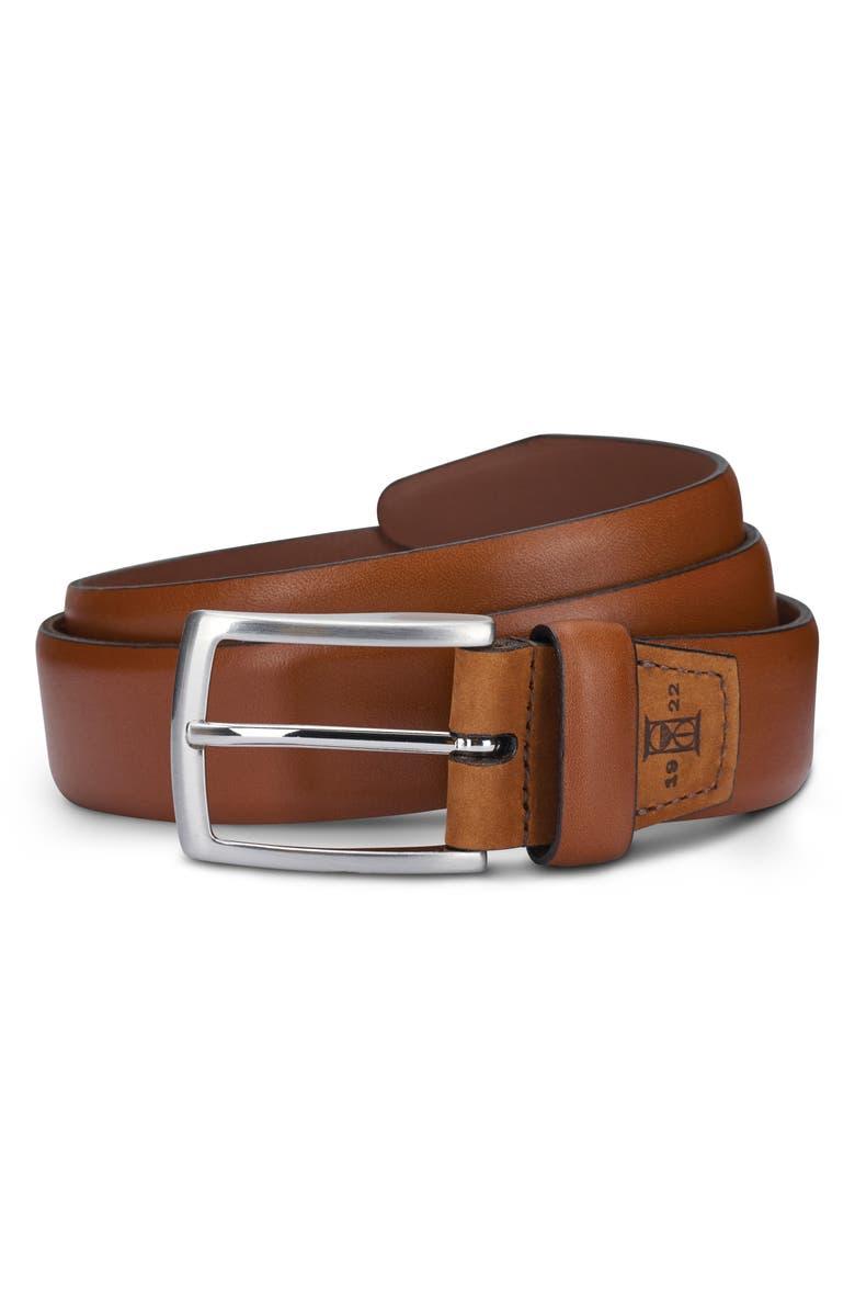 ALLEN EDMONDS Glass Avenue Leather Belt, Main, color, WALNUT
