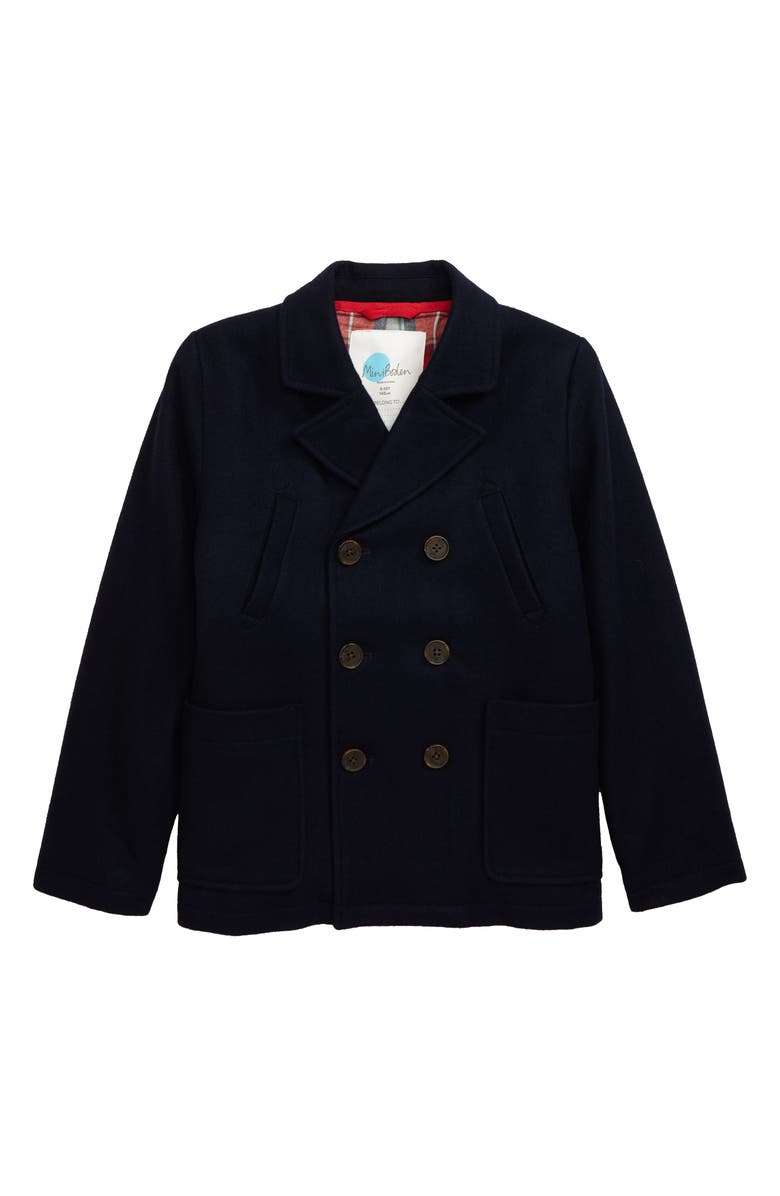 MINI BODEN Wool Blend Peacoat, Main, color, NAVY