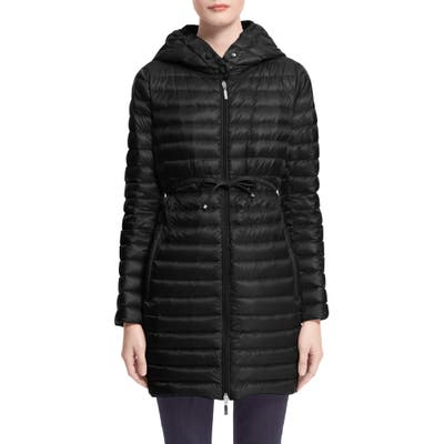 Moncler Barbel Tie Waist Hooded Lightweight Down Coat, Black