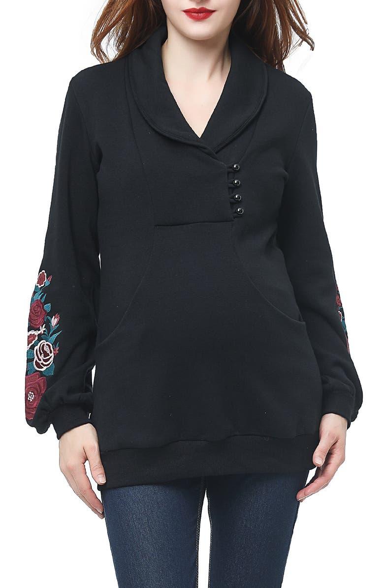 KIMI AND KAI Nellie Shawl Collar Maternity Top, Main, color, BLACK