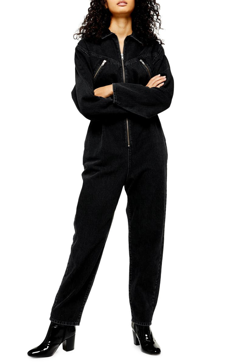 TOPSHOP Cinched Denim Jumpsuit, Main, color, WASHED BLACK