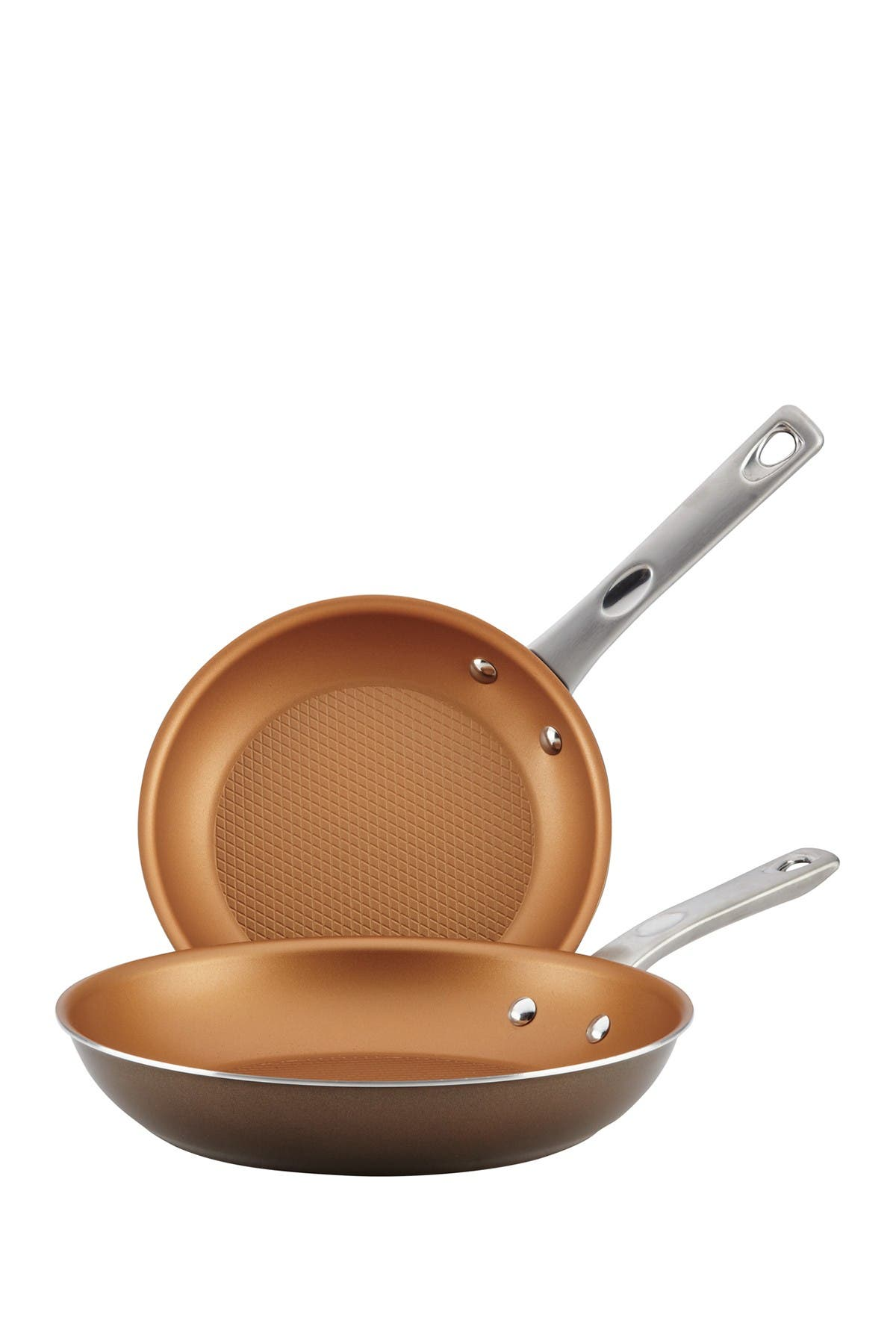 """Image of AYESHA Collection Cookware 9.25"""" & 11.5"""" Open Skillet - Set of 2 - Brown Sugar"""