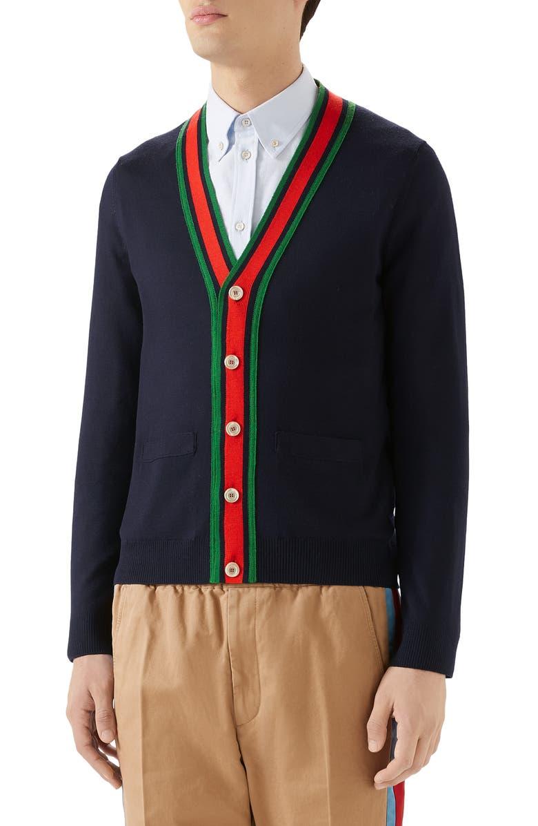 GUCCI Web Wool Cardigan, Main, color, INK/ MULTICOLOR