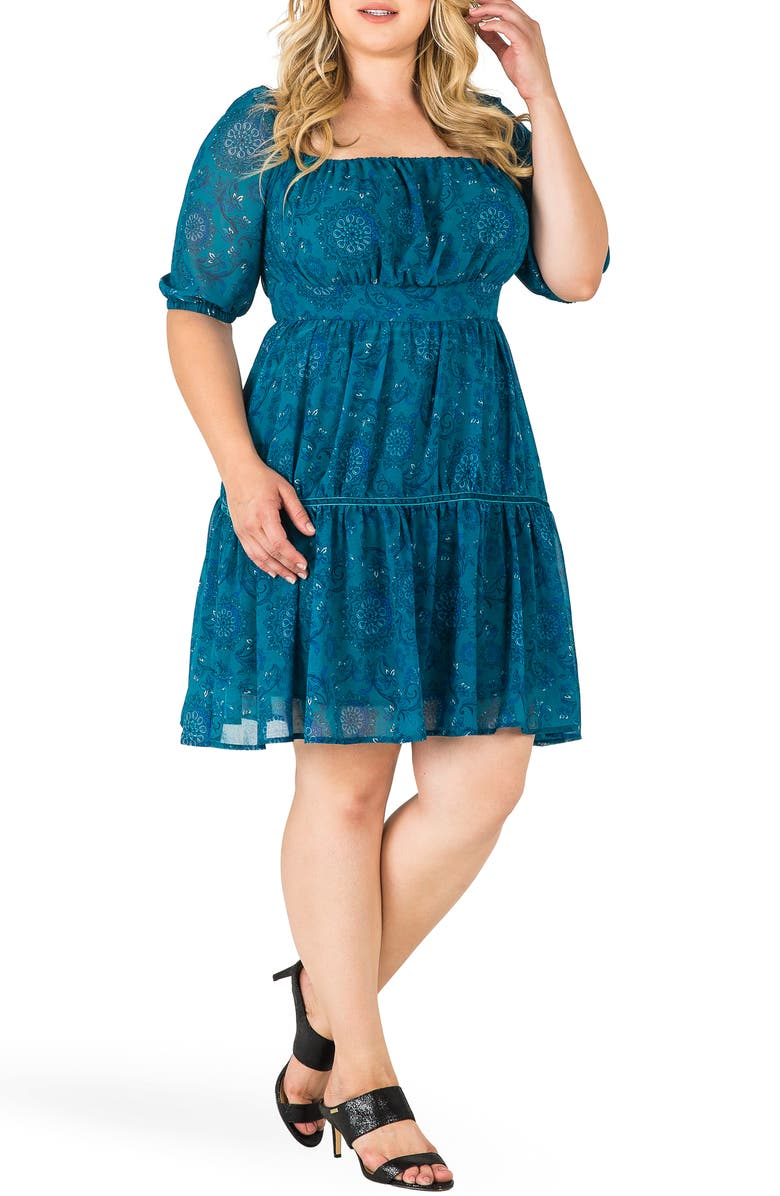 STANDARDS & PRACTICES Katrina Floral Print Fit & Flare Dress, Main, color, TEAL
