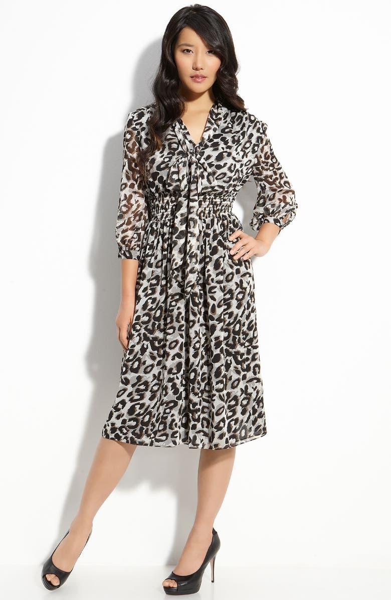 ELIZA J Tie Neck Chiffon Dress, Main, color, 020