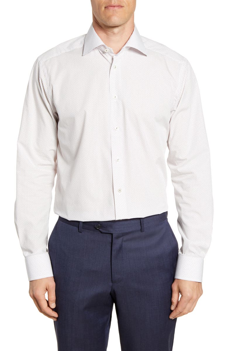 ETON Contemporary Fit Micro Print Shirt, Main, color, WHITE