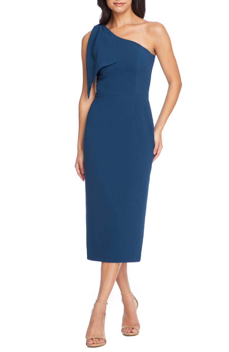 DRESS THE POPULATION Tiffany One-Shoulder Midi Dress, Main, color, PEACOCK BLUE