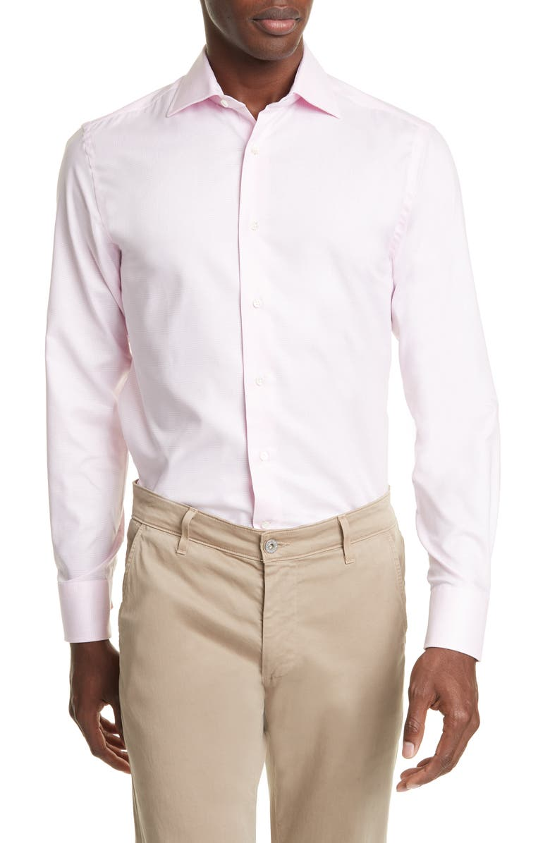 CANALI Trim Fit Plaid Dress Shirt, Main, color, PINK