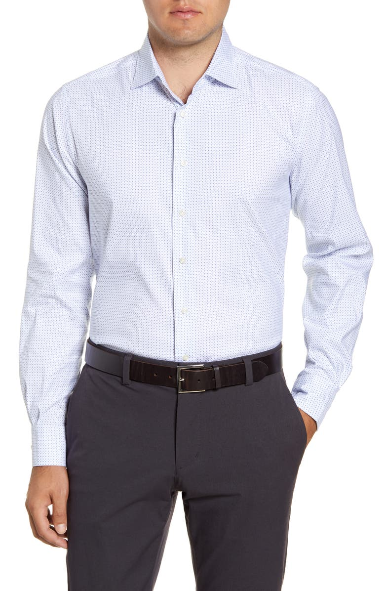 EMANUEL BERG Regular Fit Geo Print Button-Up Shirt, Main, color, WHITE