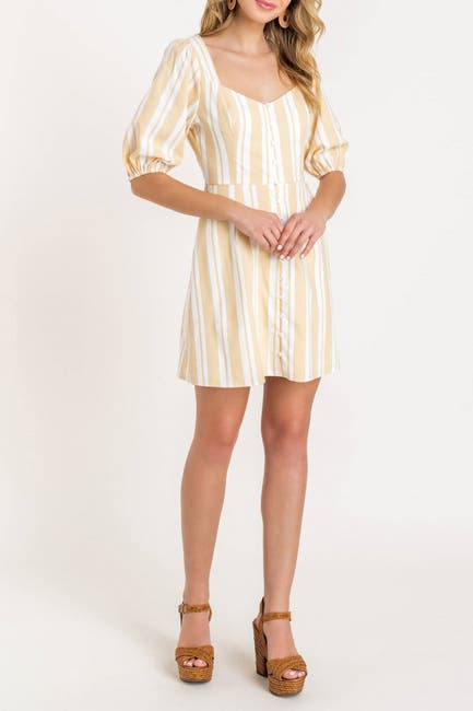 Image of Lush Puff Sleeve Stripe Linen Dress