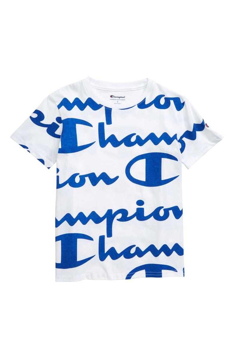 CHAMPION Giant Logo Graphic T-Shirt, Main, color, 110