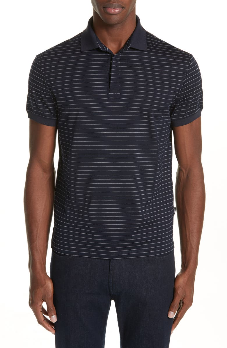 Emporio Armani Slim Fit Stripe Jersey Polo