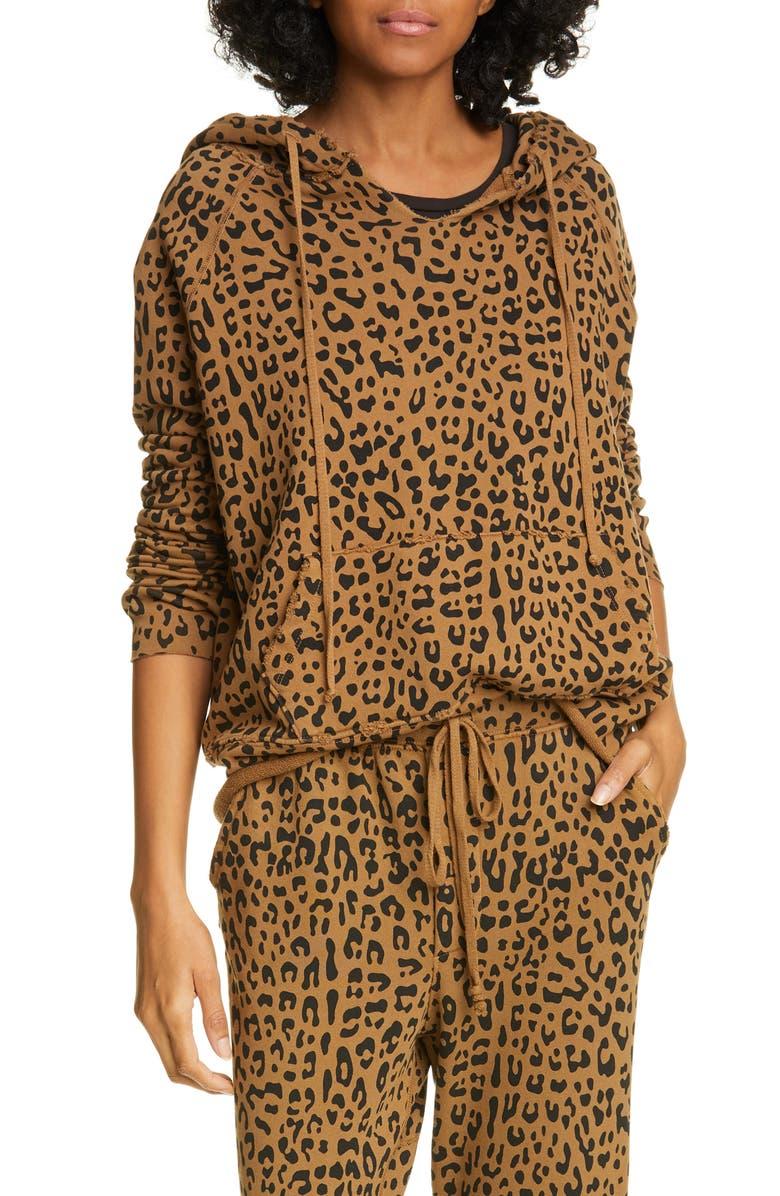 NILI LOTAN Janie Leopard Print Hoodie, Main, color, WHISKEY LEOPARD PRINT