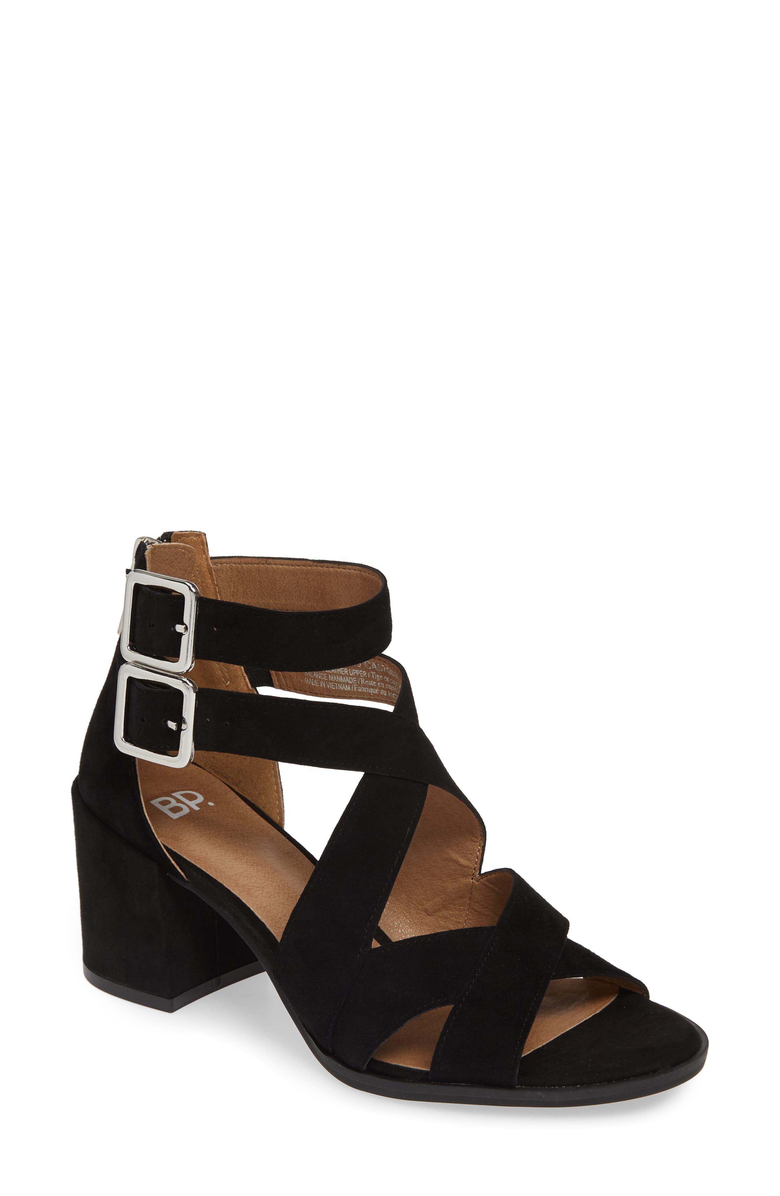 ,                             Izzy Block Heel Sandal,                             Main thumbnail 1, color,                             BLACK SUEDE