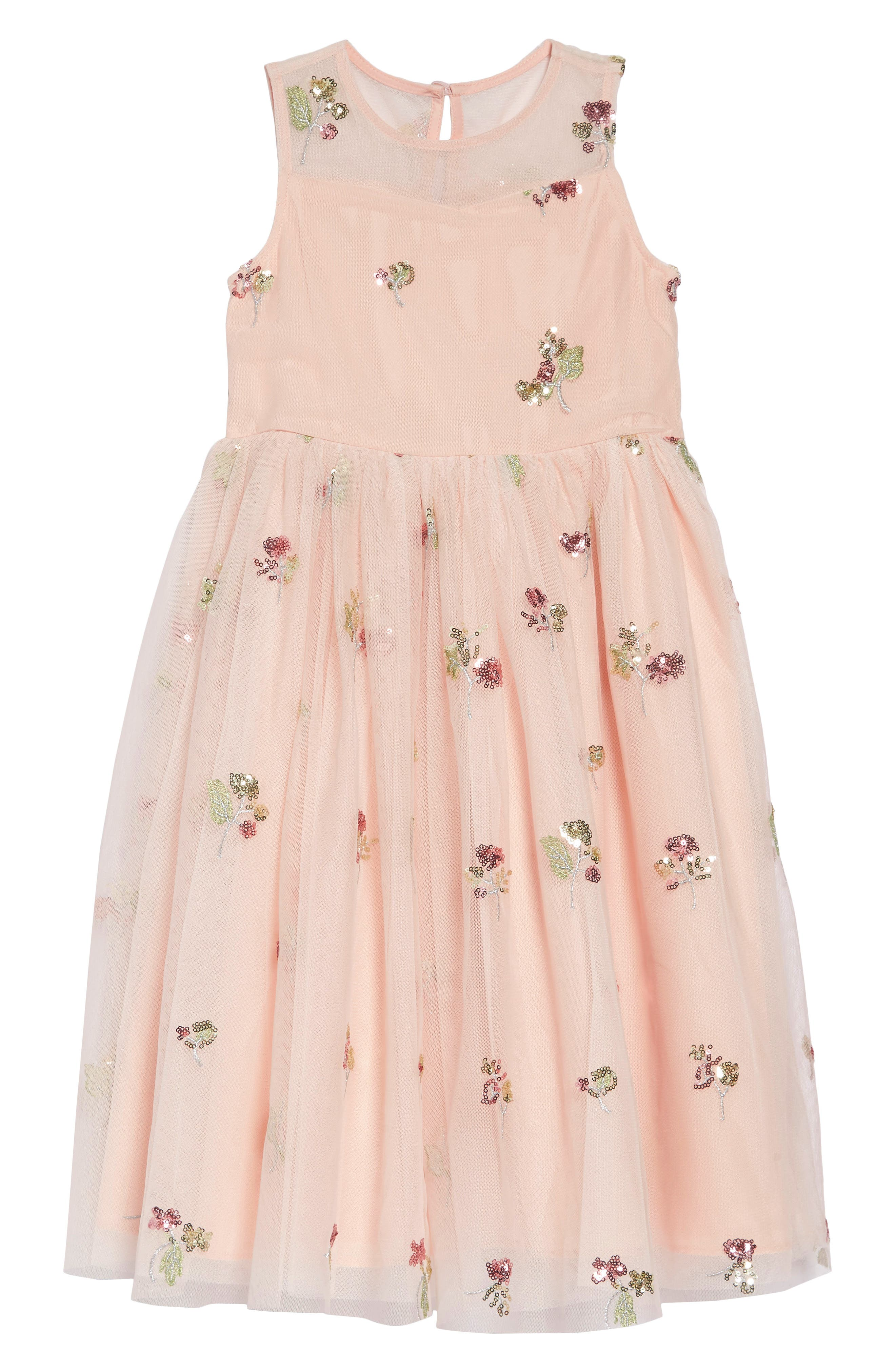 ,                             Sequin Embellished Tulle Midi Dress,                             Main thumbnail 1, color,                             PEACH