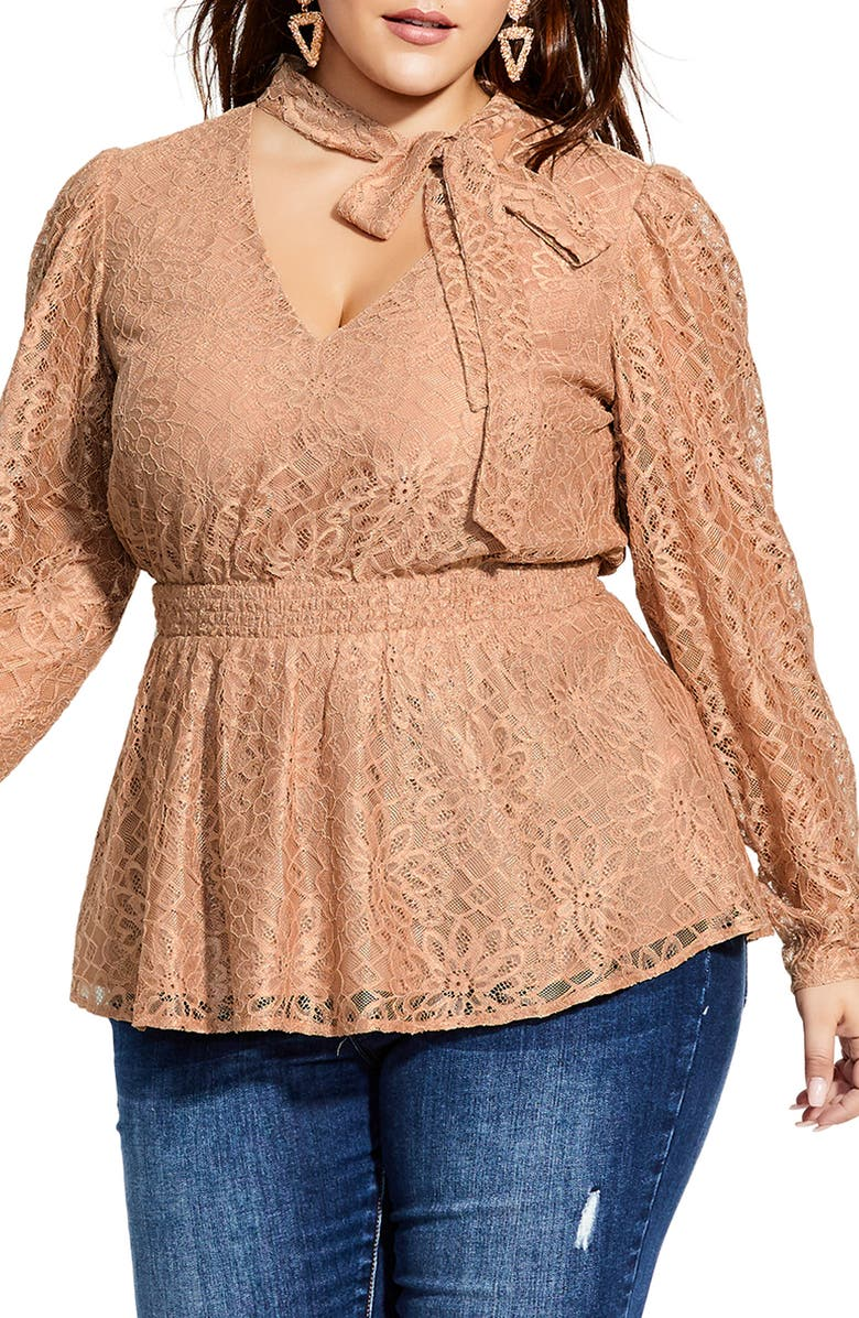 CITY CHIC Tie Neck Lace Peplum Blouse, Main, color, CARAMEL