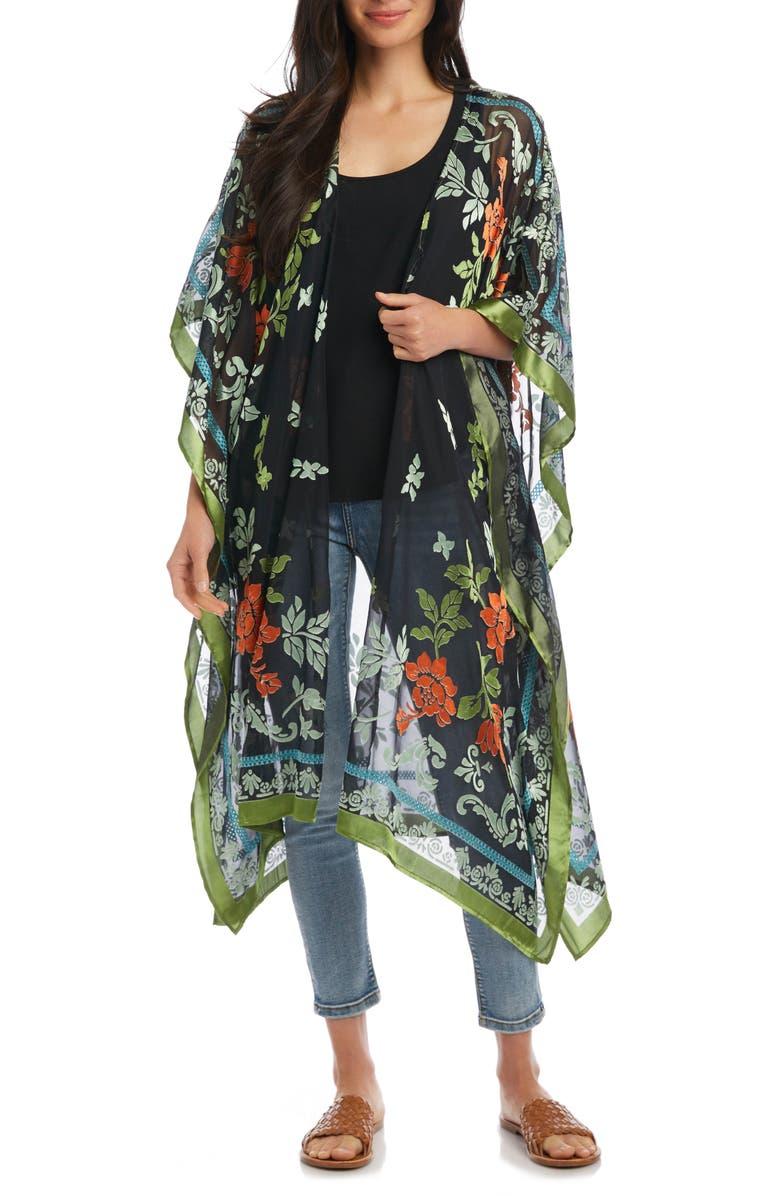 KAREN KANE Flocked Floral Wrap, Main, color, MULTI COLOR